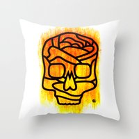 Skull Rose Throw Pillow
