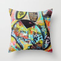 Street Art On The Door in NYC Throw Pillow