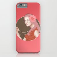 iPhone & iPod Case featuring Girl Holding a Pearl Necklace by SL Scheibe
