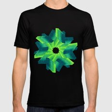 Geometric Flower Black SMALL Mens Fitted Tee