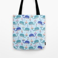 whales in a Row Tote Bag