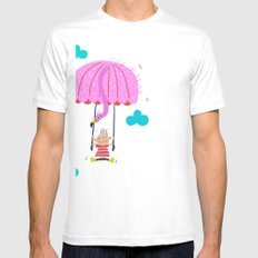 one of the many uses of a flamingo - parachute Mens Fitted Tee SMALL White