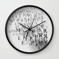 Typography And  The Blac… Wall Clock