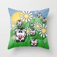 Cows & Daisies  Throw Pillow