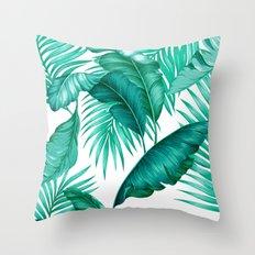 HAWAIIAN GARDEN TROPICAL LEAVES | turquoise white Throw Pillow
