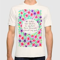 Flowers in my hair Mens Fitted Tee Natural SMALL