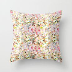 Abstract Springtime Watercolor Pattern Throw Pillow