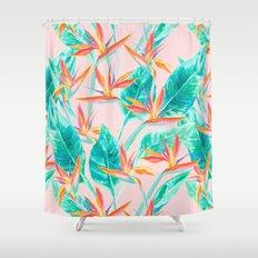 Birds of Paradise Blush Shower Curtain