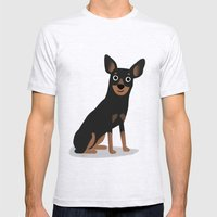 Min Pin - Cute Dog Series Mens Fitted Tee Ash Grey SMALL
