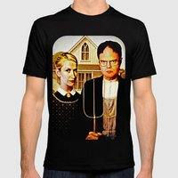 Dwight Schrute & Angela Martin (The Office: American Gothic) Mens Fitted Tee Black SMALL