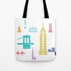 New York Skyline White Tote Bag