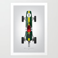 Outline Series N.º1, Jim Clark, Lotus 25-Coventry Climax 1962 Art Print