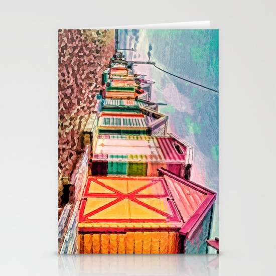 Painted Beach Huts Stationery Card