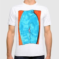 blue butt Mens Fitted Tee Ash Grey SMALL