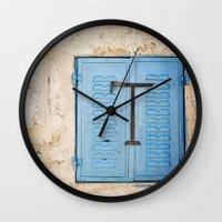 Vibrant Blue Window In S… Wall Clock