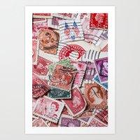Vintage Red Stamps Art Print