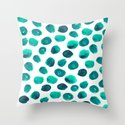 Esme - painted brushstroke emerald jade mint dots polka dots pattern design  Throw Pillow