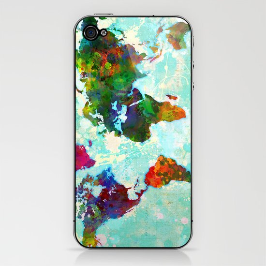 Abstract Map of the World iPhone & iPod Skin