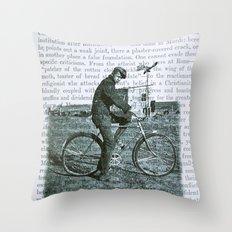 1930s Boy on Bike Photo Collage Throw Pillow