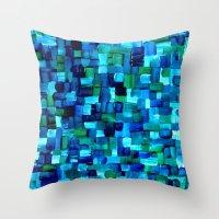 Abstract Tiles Of Blue A… Throw Pillow