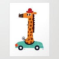 Giraffe Driver Art Print