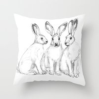 Three Hares sk131 Throw Pillow