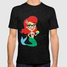 Hipster Ariel Mens Fitted Tee Tri-Black SMALL