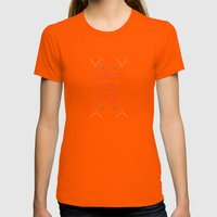 Knit Or Die Womens Fitted Tee Orange SMALL