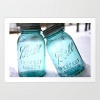 Blue Ball Jars Art Print