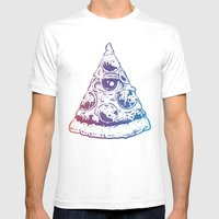 All Seeing Pizza Mens Fitted Tee White SMALL