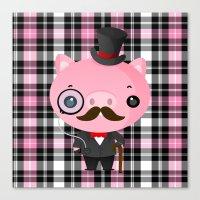 Gentlemen Pig Canvas Print