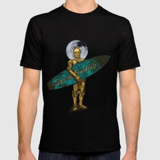 Space Surfer Black Mens Fitted Tee SMALL