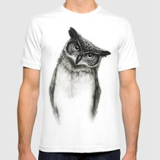 Owl Sketch Mens Fitted Tee White SMALL