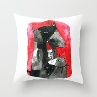 Two Wolfs And Little Red… Throw Pillow