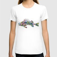 FISH Womens Fitted Tee White SMALL