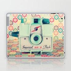 Film Mint Camera on a Colourful Retro Background  Laptop & iPad Skin