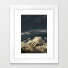 misty mountain top Framed Art Print