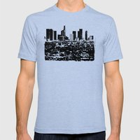 Downtown Los Angeles Skyline - Stamp Pattern on Light Blue Mens Fitted Tee Tri-Blue SMALL