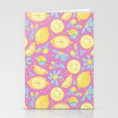 Lemon Pattern Pink Stationery Cards