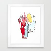 Angel/devil lesbian kiss Framed Art Print