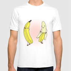 Banana Strip Mens Fitted Tee White SMALL