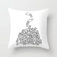 Pile of Rabbits Throw Pillow