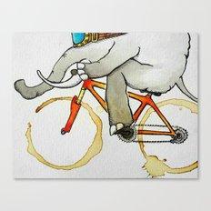 Elephant on a Bike Canvas Print