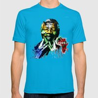 Nelson Mandela Mens Fitted Tee Teal SMALL