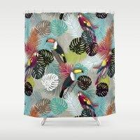 Tropical Birds (Color 2 - Bold) Shower Curtain