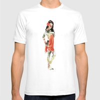 Floral Pin Up Girl Mens Fitted Tee White SMALL