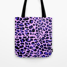 Blue and Black Leopard Print in Soft Pink Tote Bag