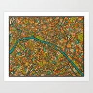 Art Print featuring PARIS Map by Jazzberry Blue
