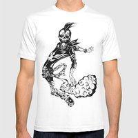 Fart Skull Flying Mens Fitted Tee White SMALL