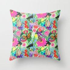 Butterfly and Moths Pattern - Green Throw Pillow